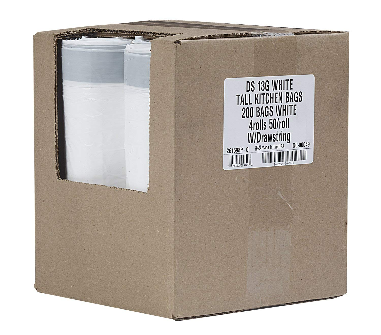 """Aluf Plastics Tall Kitchen 13 Gallon Drawstring Trash Bags - (Bulk 200 Count) - 24""""x27"""" - Wholesale, commerical Garbage Bags"""