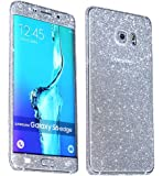 Heartly Sparking Bling Glitter Crystal Diamond Protective Film Whole Body Phone Skin Sticker For Samsung Galaxy S6 Edge SM-G925 - Champagne Silver