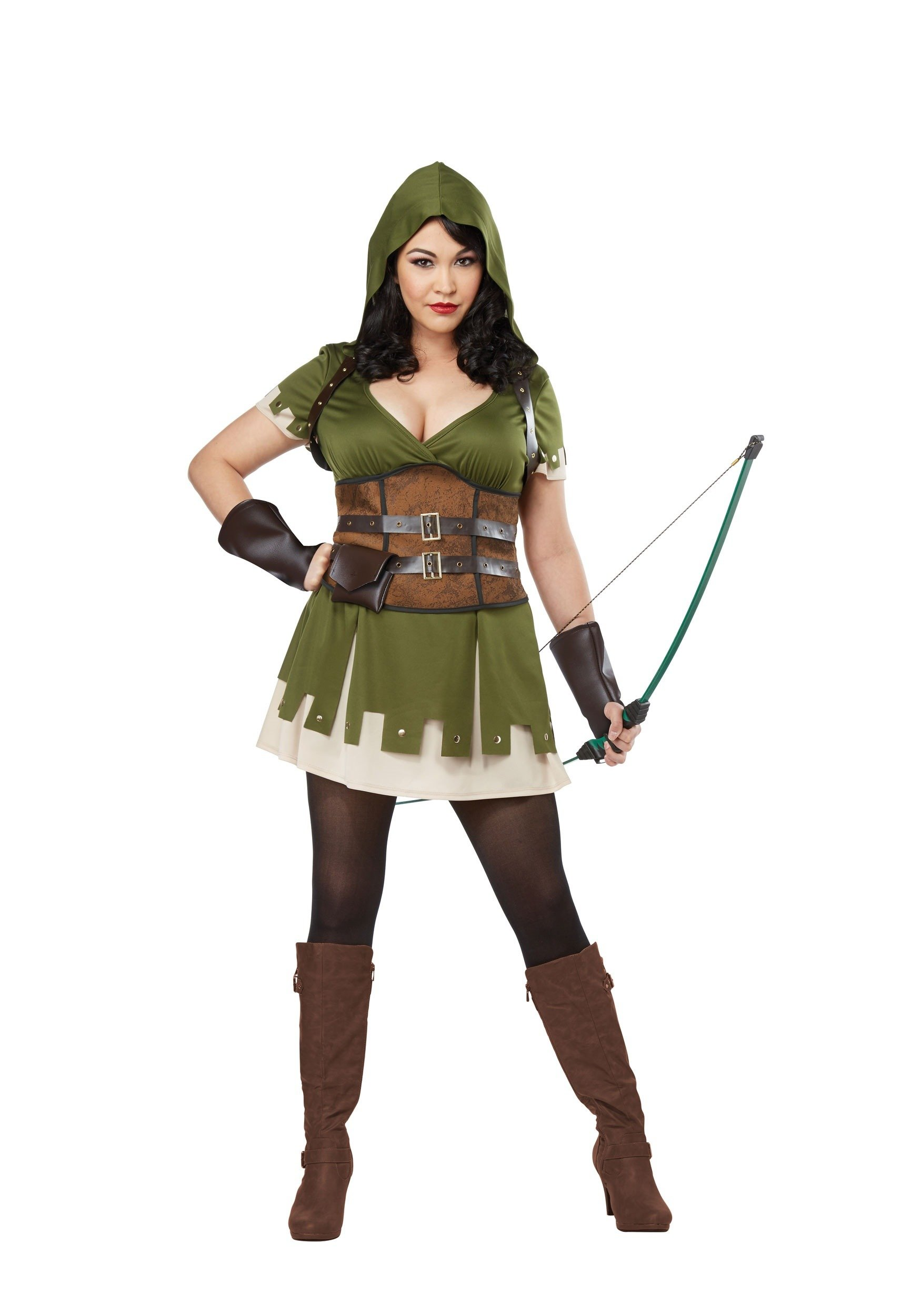 California Costumes Women's Size Lady Robin Hood Adult Woman Plus, Olive/Brown, 3X Large
