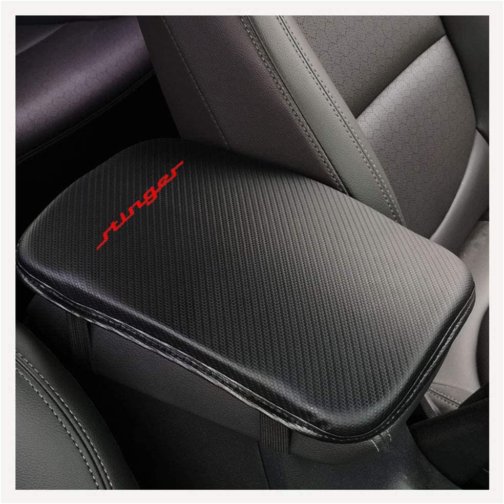 Red For Kia Stinger Auto Center Console Pad Car Armrest Seat Box Cover Protector Carbon Fiber Leather