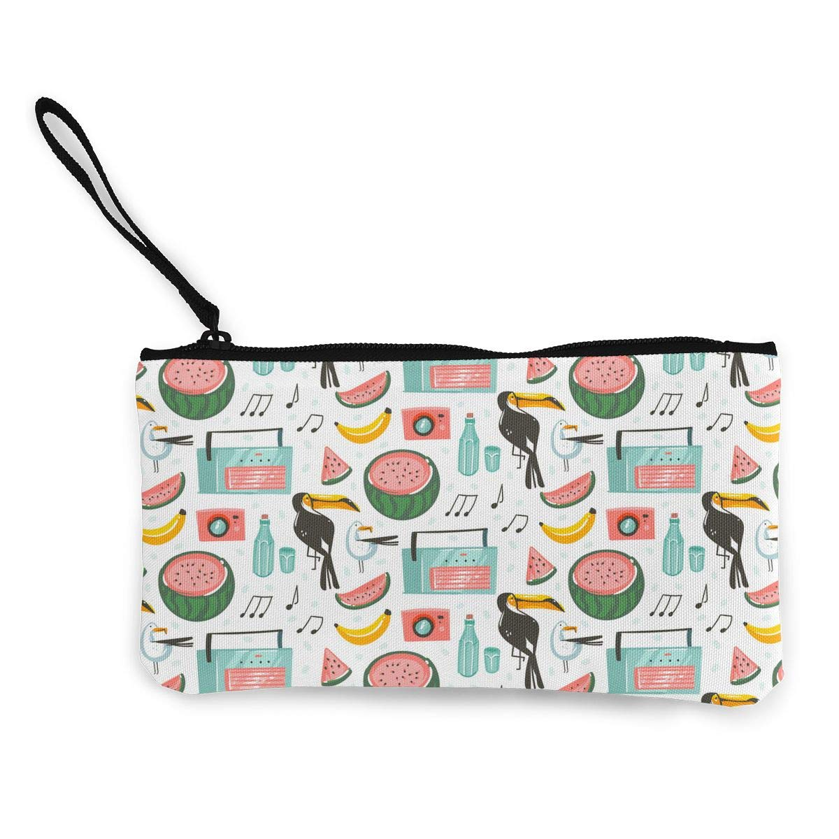 Cellphone Clutch Purse With Wrist Strap Summer Time Pattern Womens Canvas Coin Case Zipper Small Purse Wallets