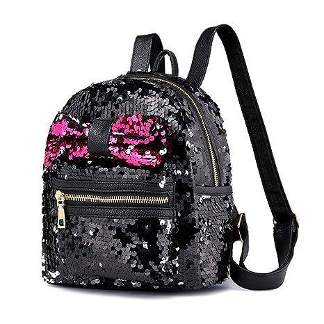 64fd3661239 Amazon.com  OVERMAL Fashion Sequins Bow Tie School Bag Backpack Satchel  Women Travel Shoulder Bag  Shoes