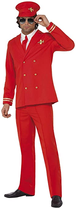 70s Costumes: Disco Costumes, Hippie Outfits Smiffys Mens High Flyer Costume with Jacket Trousers Hat and Shirt Front $75.60 AT vintagedancer.com