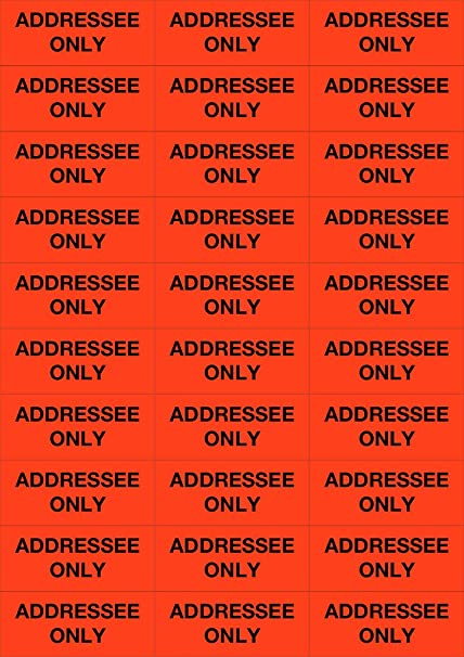 dark orange fluorescent neon labels addressee only 100 labels