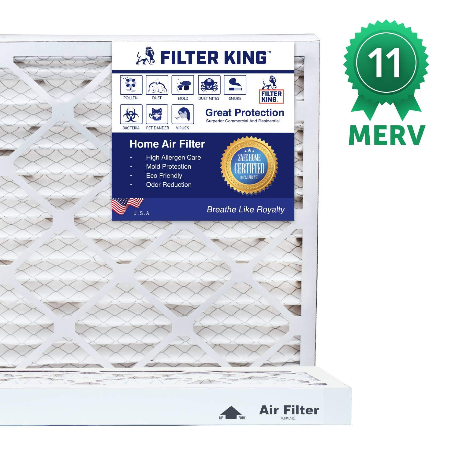 Filter King 12x24x1 Air Filters Protection Against Mold and Pollen MERV 11 HVAC Pleated AC Furnace Filters Allergen Reduction Increases Air Quality 12 Pack Actual Size 11.5x23.5x1