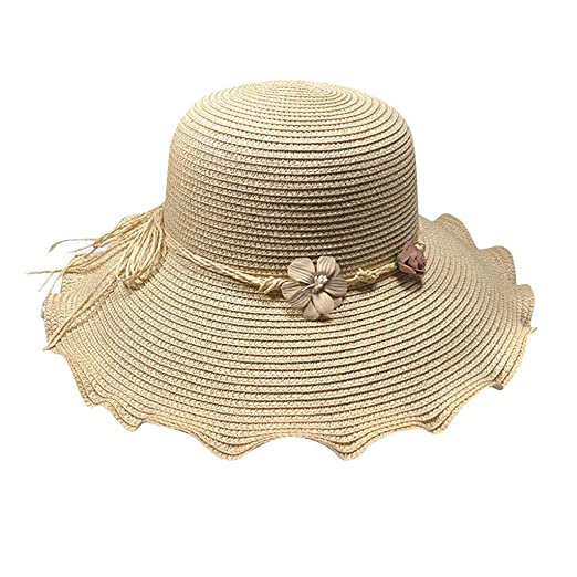 d86a79e546c YQZB Women s Summer Folable Floppy Straw Hat Wide Brim Sun Hats Beige
