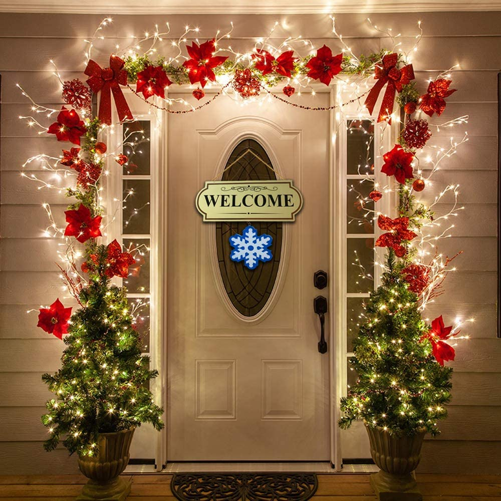 "10 Pieces Set Seasonal Welcome Signs Interchangable Door Hanging Festive Plaque Whimsical Decor - 11 1/2"" L x 4 1/4"" H, Each Design Approx. 4 1/2"" L x 4"" H.by CTD Store"
