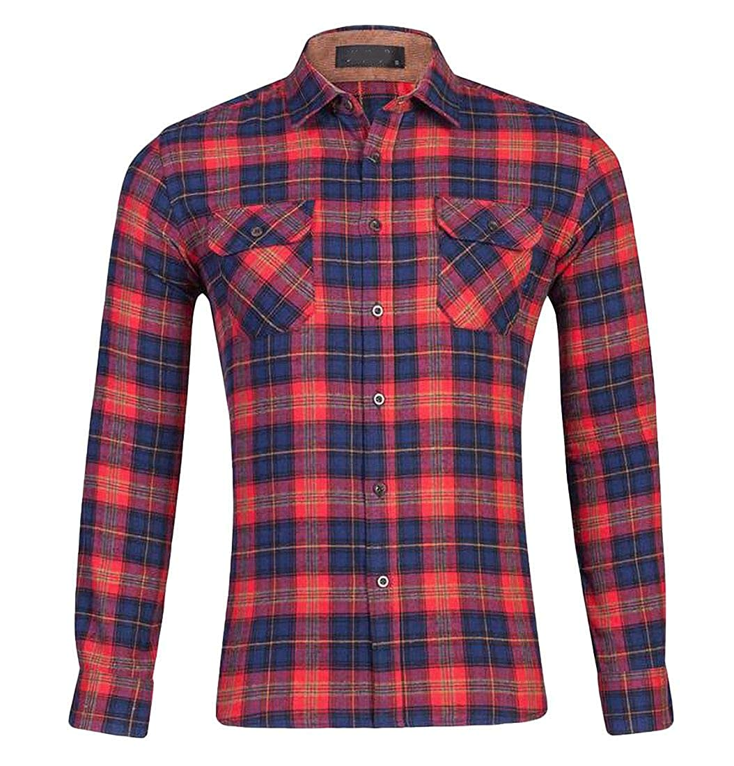 SELX Men Checkered Slim Fit Long Sleeve Button Up Shirts with Pockets
