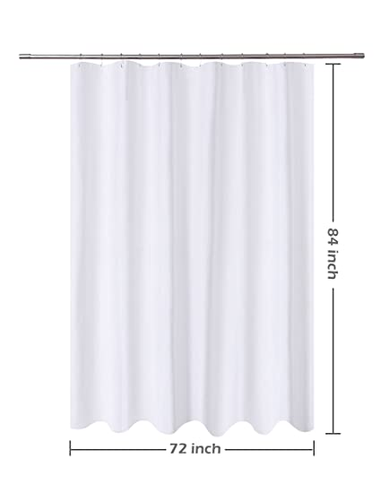Amazon NY HOME Fabric Shower Curtain Liner White Extra Long 72 X 84 Inch Hotel Quality Mildew Resistant Washable Water Repellent Spa Bathroom