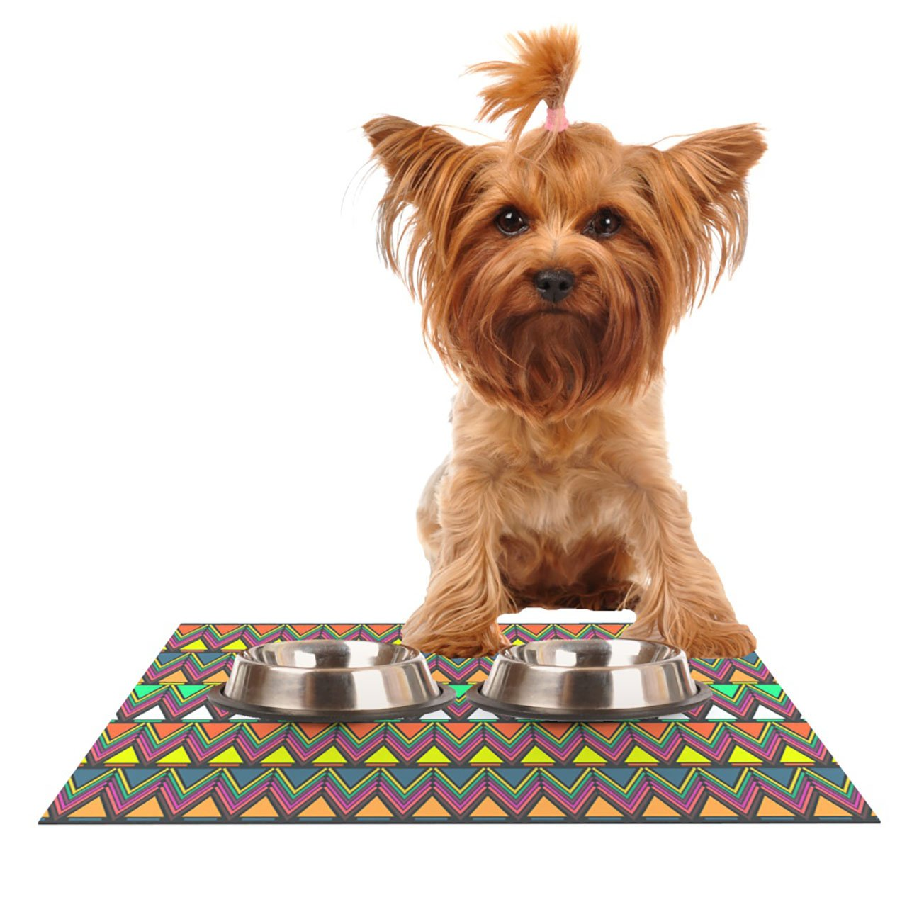 Kess InHouse Nandita Singh Pattern Play  Rainbow Chevron Pet Bowl Placemat for Dog and Cat Feeding Mat, 24 by 15-Inch