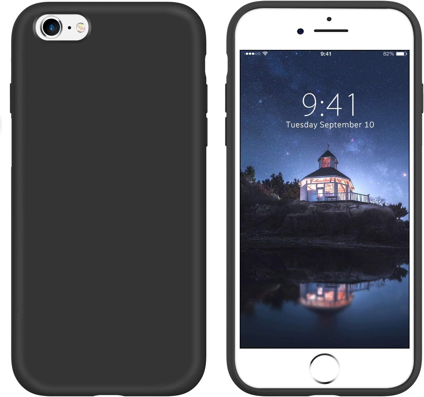 GUAGUA iPhone 6s Case iPhone 6 Case Liquid Silicone Soft Gel Rubber Slim Thin Light Microfiber Lining Cushion Texture Cover Shockproof Full Body Protection Phone Cases for iPhone 6/6S Black