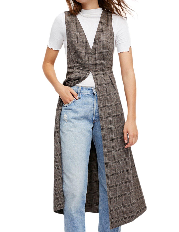 Richlulu Womens Double V Neck Economy Dressy Vest Longline Waistcoat