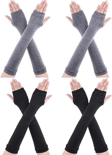 4 Pairs Long Fingerless Gloves Warmer Thumbhole Elbow Length Gloves for Women Color Set 3