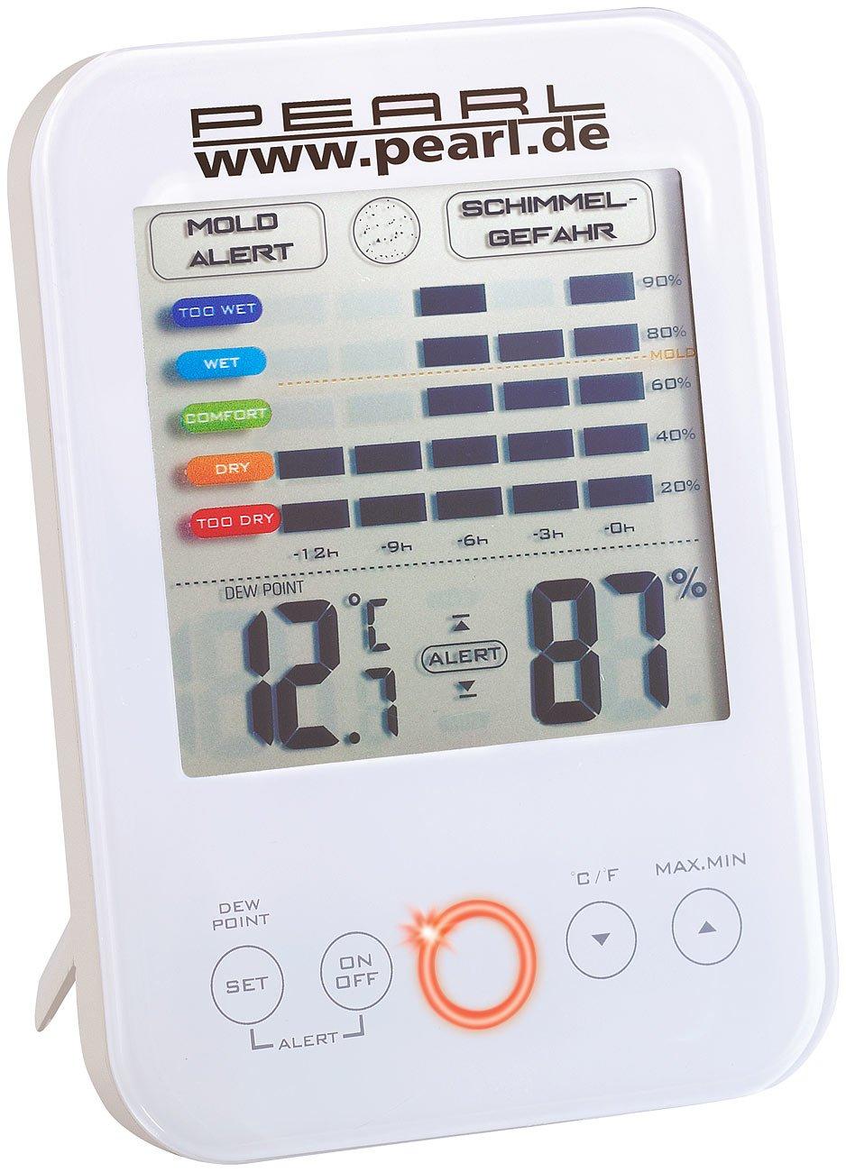 PEARL Schimmelmelder: Digital-Hygrometer/Thermometer mit Schimmel-Alarm (Hygrometer mit Schimmelalarm)