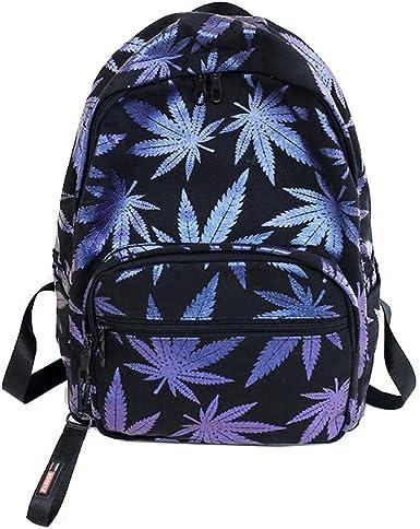Cannabis Weed Leaf Backpack Back to School Street Bag Ruck Sack