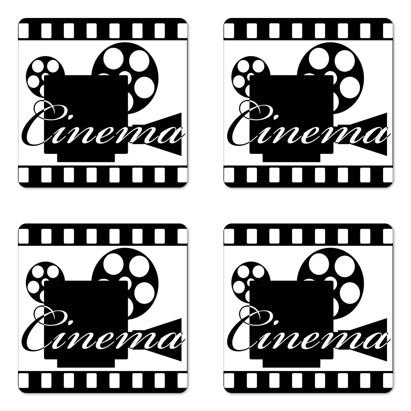 Ambesonne Movie Theater Coaster Set of Four, Monochrome Cinema Projector Inside a Strip Frame Abstract Geometric Pattern, Square Hardboard Gloss Coasters for Drinks, Black White