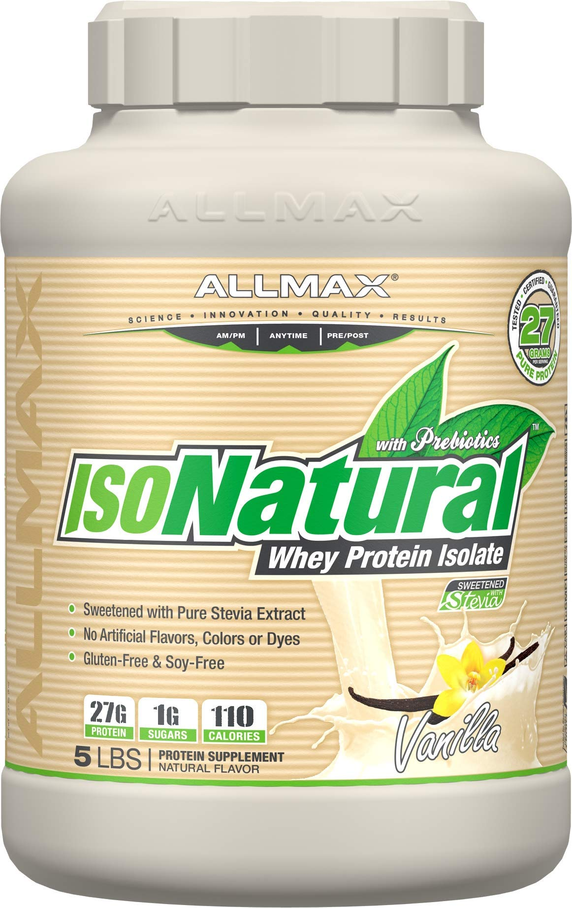 ALLMAX Nutrition IsoNatural 100 Ultra-Pure Natural Whey Protein Isolate Vanilla 5 lbs 2 27 kg