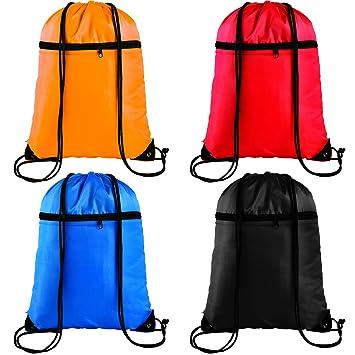 b5c5d6ea4f3b Keriber 4 Pack Zipper Drawstring Bag Backpack Rucksack Bags Gym Sport  Zipped Pocket Travel Storage Backpack