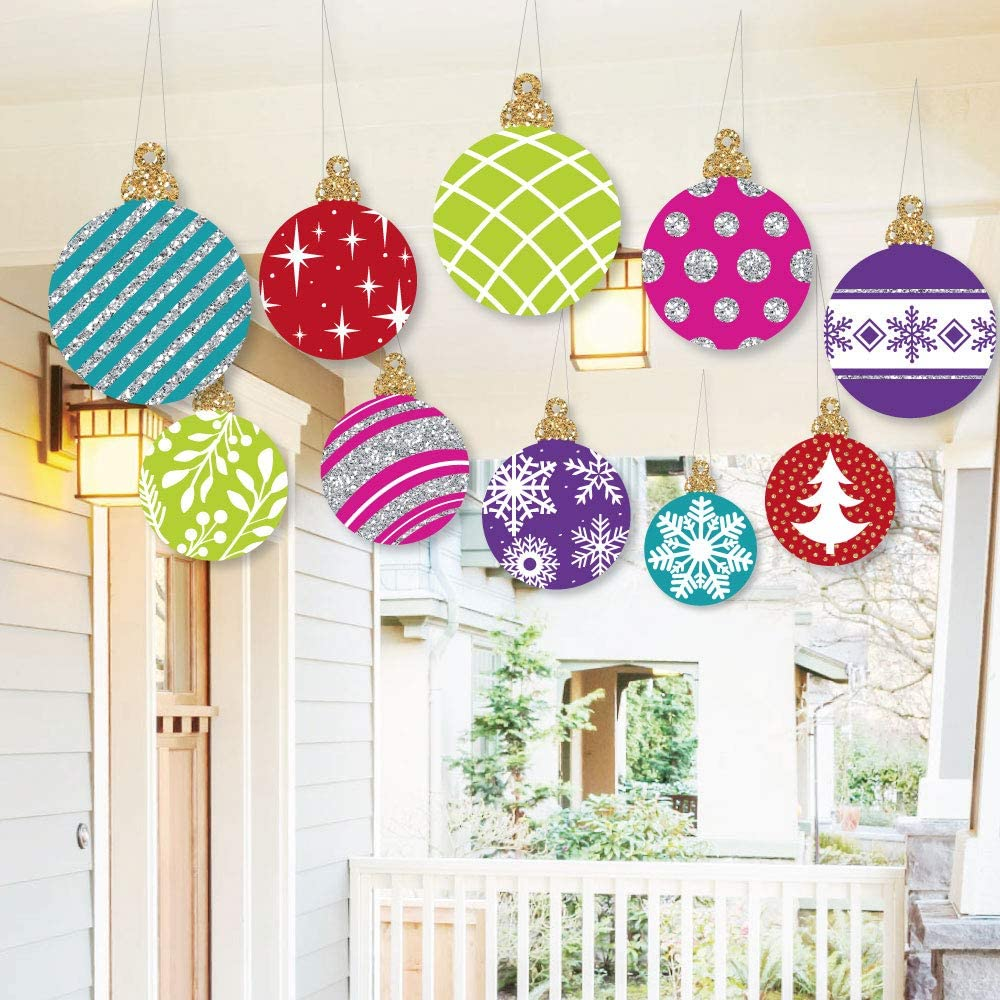 Big Dot of Happiness Hanging Colorful Ornaments - Outdoor Holiday and Christmas Hanging Porch and Tree Yard Decorations - 10 Pieces