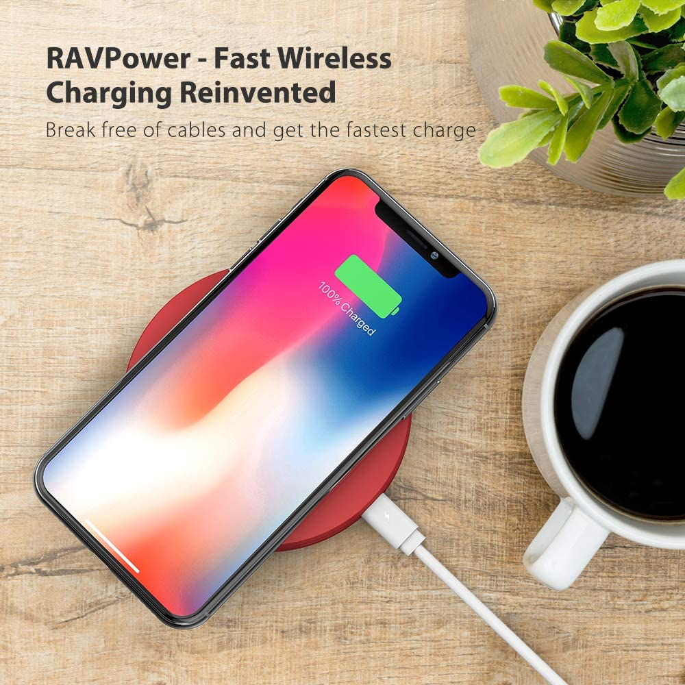 S8 S7 Edge S7 /& Standard Charge Compatible iPhone Xs MAX XR XS X 8 8 Plus 10W Fast Charge Galaxy S9 S8 Red Wireless Charger RAVPower Qi-Certified Fast Wireless Charging Pad Quick Charge