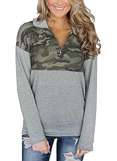 96846be77b AlvaQ Women Quarter Zip Color Block Pullover Sweatshirt Tops with Pockets(9  Colors