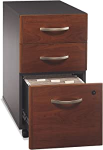 Series C 3 Drawer Mobile Pedestal Assembled Hansen Cherry/Graphite Gray