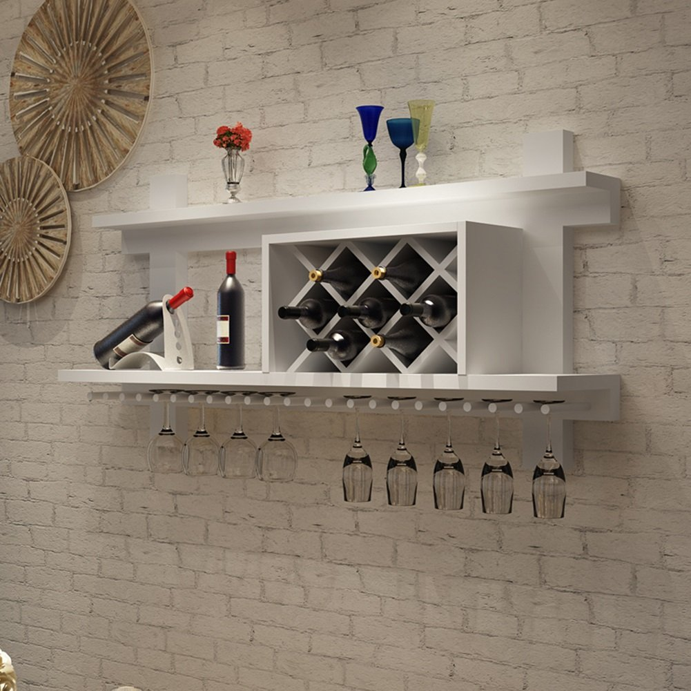 Wall Mounted Wooden Wine Rack With Glass Holder Bottle Storage Display Shelf Kitchen,Pine Wood,Bearing Weight 50kg (Color : White, Size : 1202360cm)