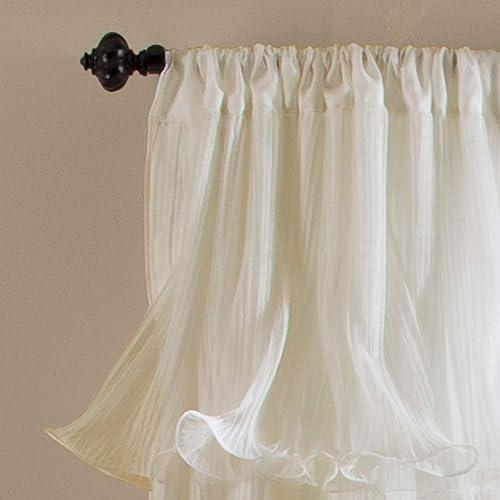Lush Decor Nerina Curtain Sheer Ruffled Textured Window Panel