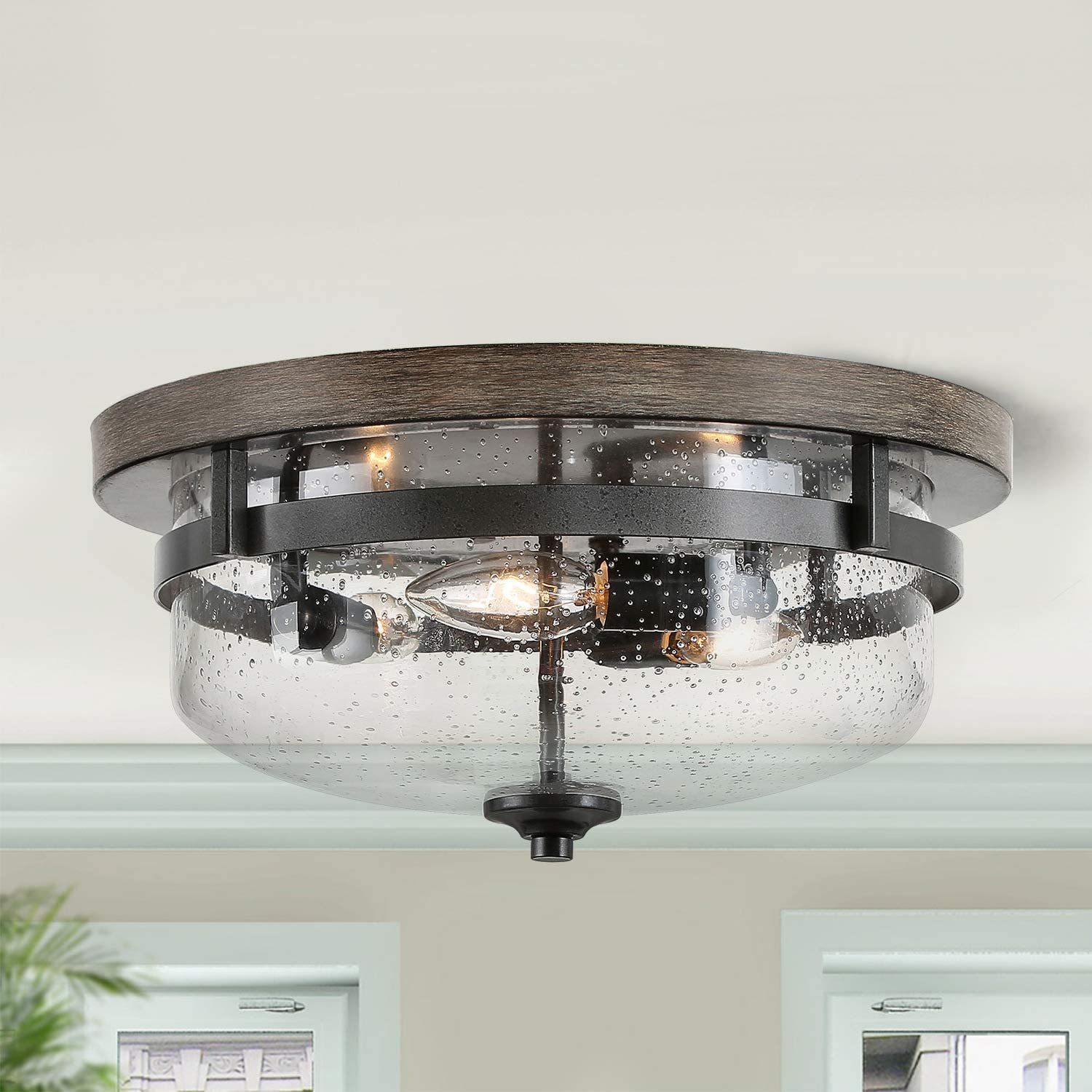 "Flush Mount Ceiling Light, Farmhouse Light Fixtures Ceiling with Faux Wood Finish and Seeded Glass Cover, W13.5""x H6.5"""