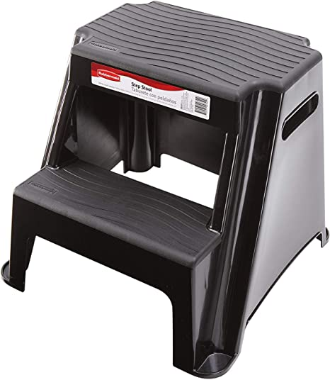2 Step Molded Plastic Stool with Non-Slip Step Treads Heavy Duty Up to 280 lbs