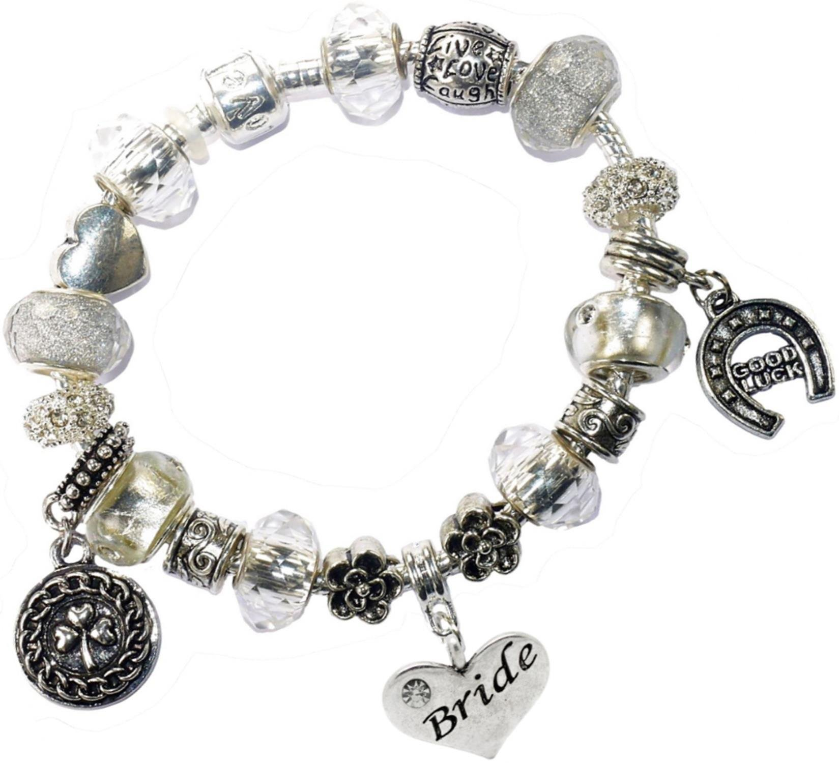Bride Bridal Good Luck Lucky Something New Iced Silver Pandora Style Bracelet Charms Gift Box Wedding