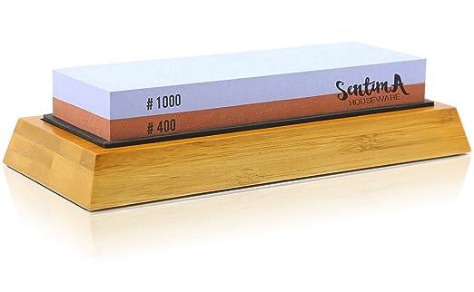 Whetstone - Knife Sharpening Stone - Knife Sharpener Stone - Best 400 1000 Grit Wet Stones Kit - Premium Waterstone Set - Non-Slip Bamboo Base