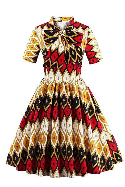 fd4494d26d8 Foshow Plus Size Womens Vintage Slim Waist African Print Short Sleeve Midi  Dress