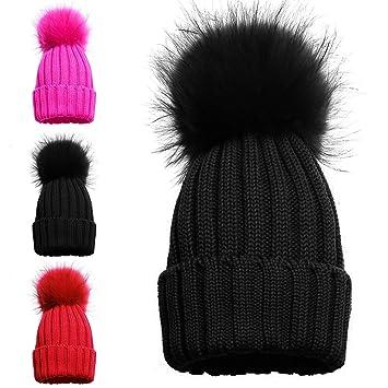 bonne qualité prix de gros gros en ligne Bonnet pour fille avec 1 ou 2 pompons, chapeau pour l'hiver avec pompon  simple ou double, bonnet en maille tricot