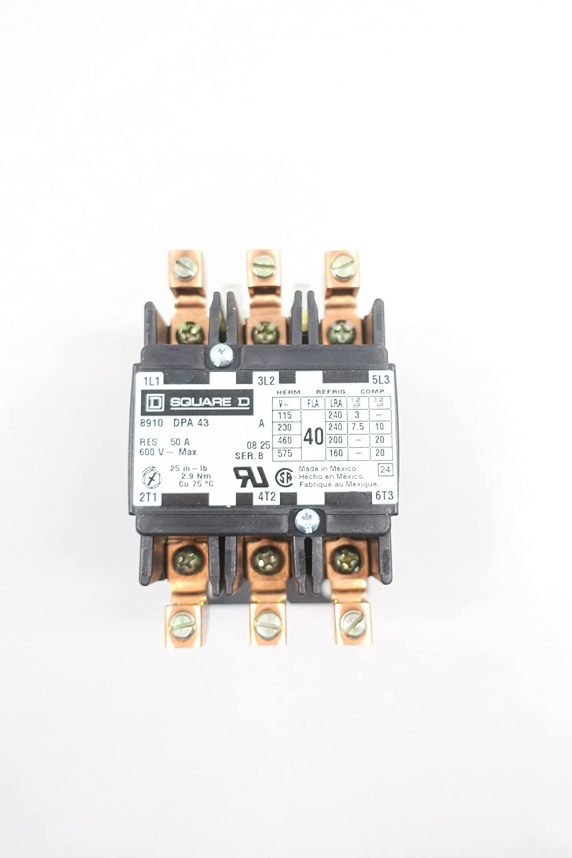 NEW SQUARE D 8910DPA43V02 CONTACTOR 40A 120V-AC 20HP SER B D585396