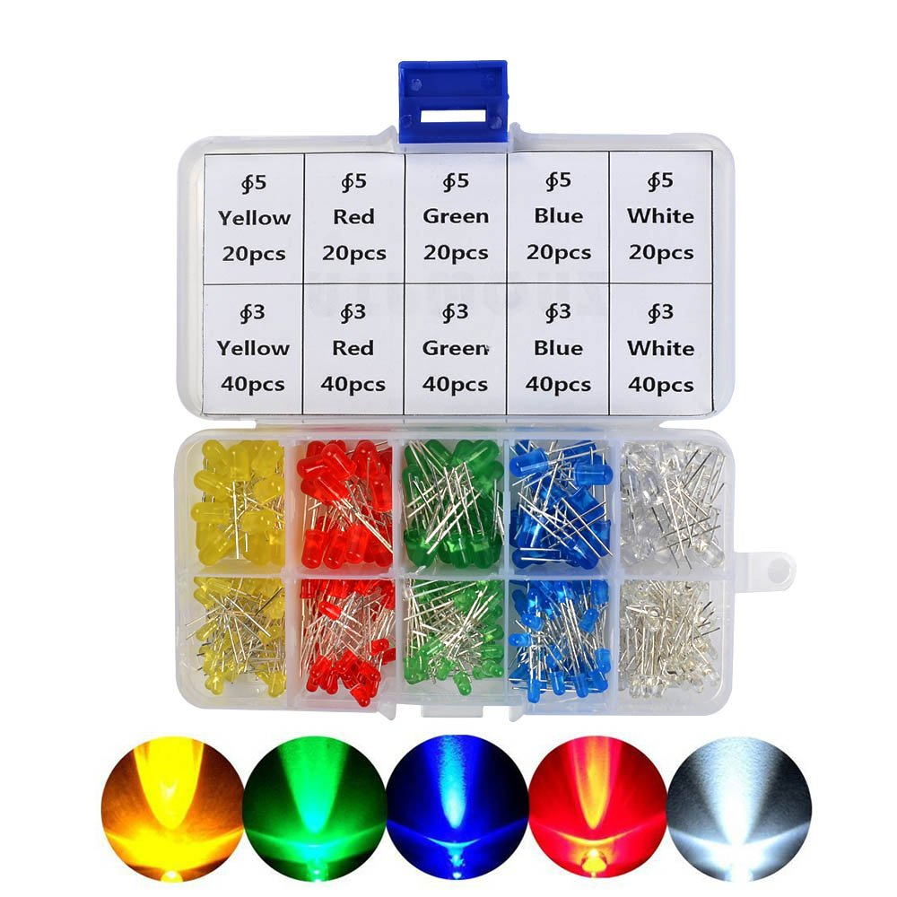 Youmile 250-Pack White Red Green Blue Yellow 5 colors x 50-Pack 3mm LED Light Emitting Diode Lamp Diffused Assorted Kit