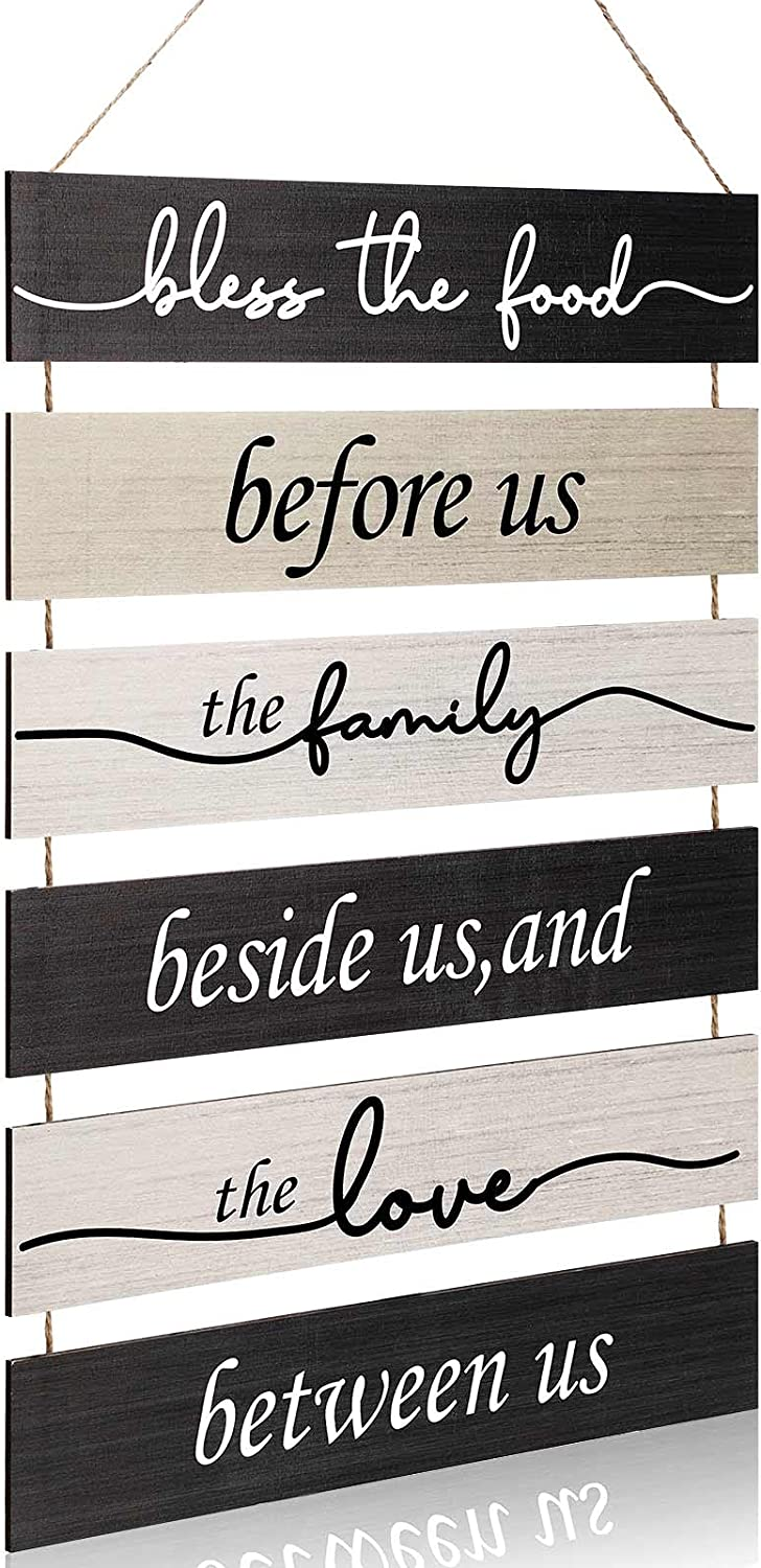 Bless The Food Before Us Wood Wall Sign Large Rustic Hanging Wall Decoration Vintage Farmhouse Wall Decor Hanging Wood Sign for Home Kitchen Living Room Dining Room Decor (Classic Color)