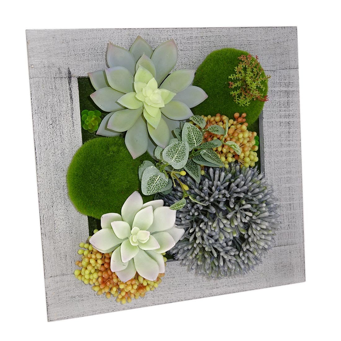 Kumii Wall Mounted 3D Artificial Flowers With Wood Frame and Wall Hanging, Art Wall Decor for Office and Home (Gray)