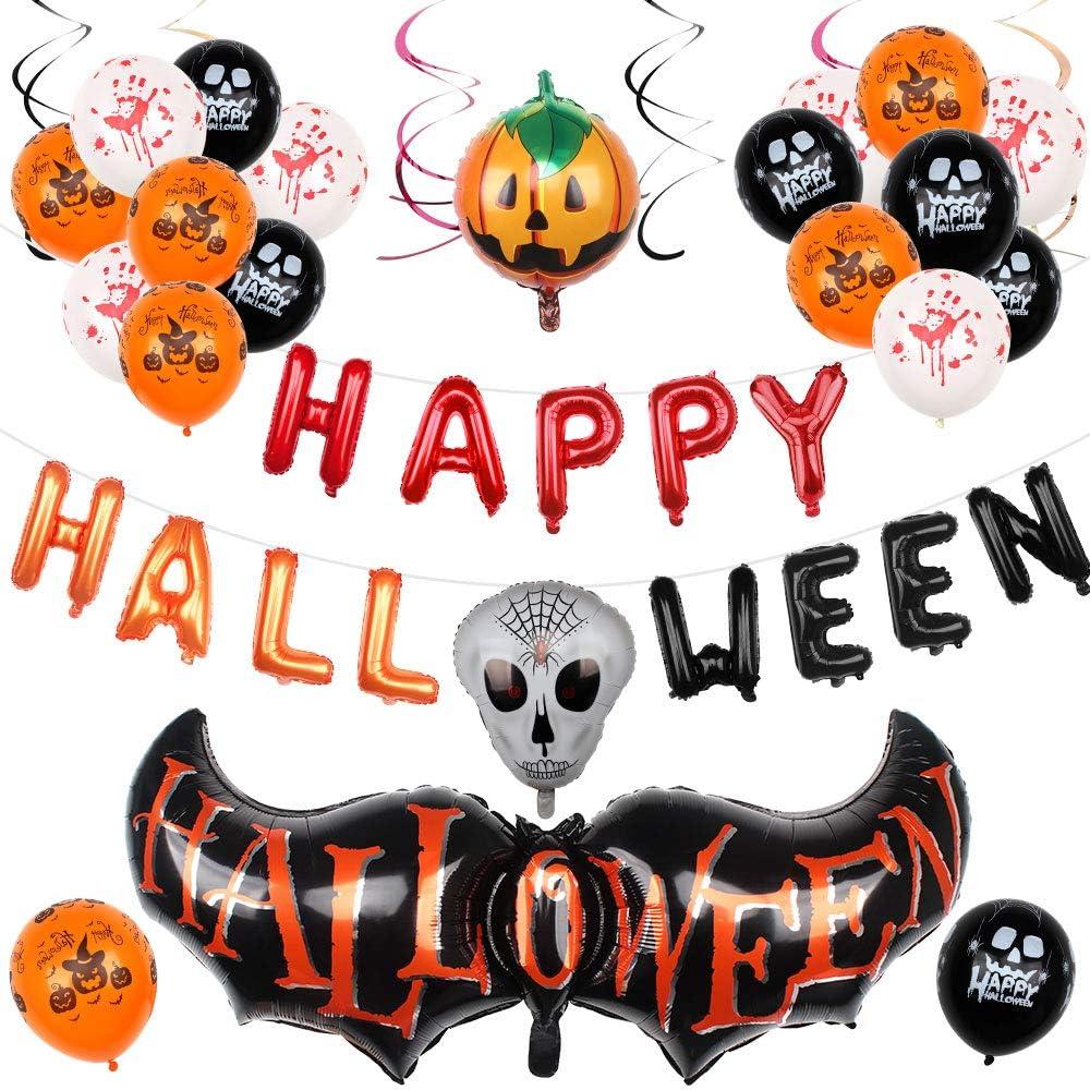 Conjunto de 40 Piezas Kit de Decoración de Fiesta de Halloween, Globos para Fiestas de Halloween Pancarta de Feliz Halloween, Globos de Látex, Calabazas, Fantasmas y Murciélagos Decoraciones de Fiesta