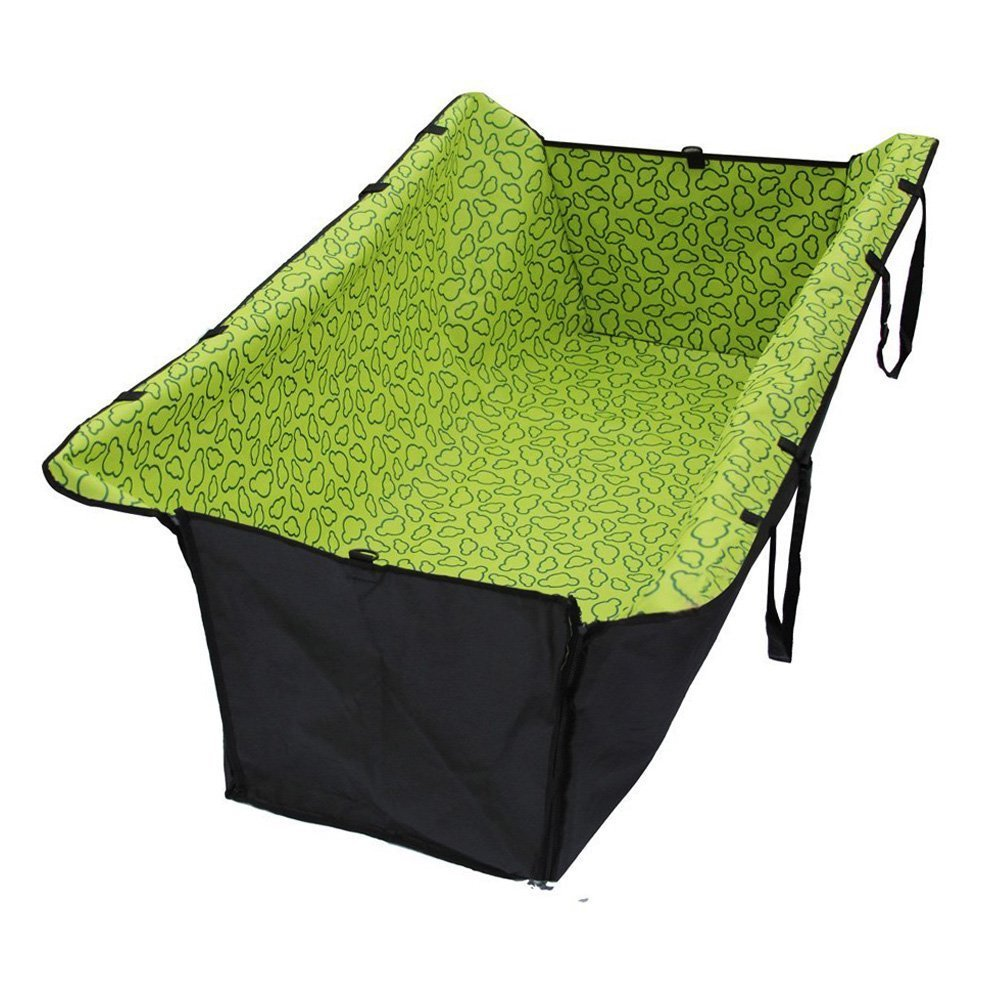 Perfect Pet Bed Supplie Double Layer Waterproof Pet Dog Cat Safe Safety Travel Hammock Car Bed Seat Cover Mat Blanket (Green)