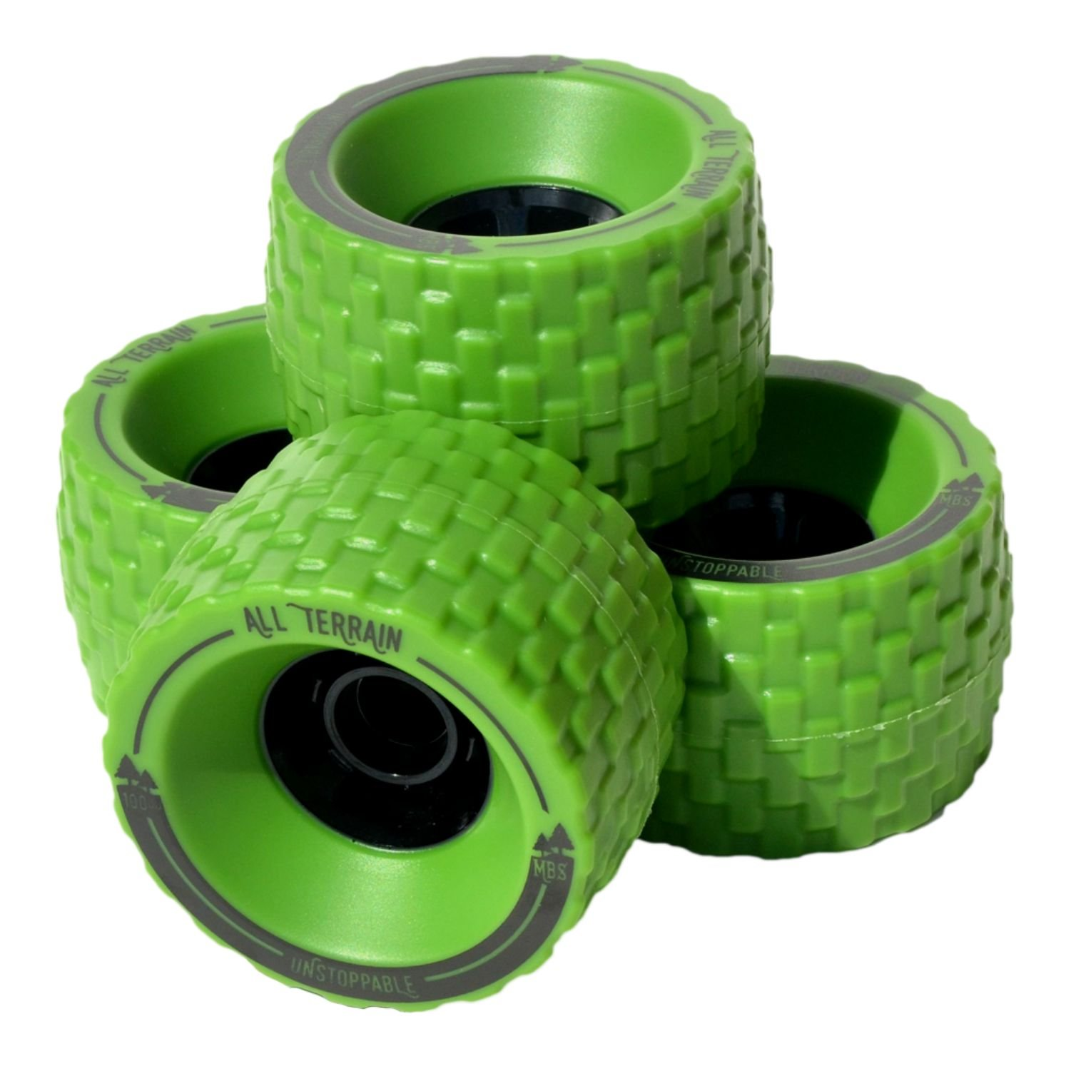MBS All-Terrain Longboard Wheels - 100mm X 65mm - Green by MBS
