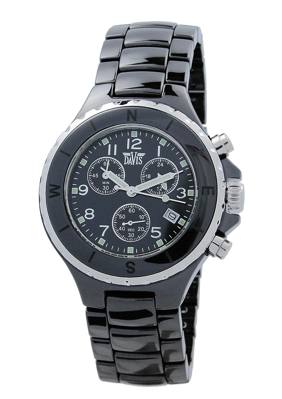 Davis - Reloj analógico de Cuarzo para Hombre con Correa de Acero Inoxidable, Color Negro