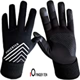 Winter Gloves Men Women Running Touch Screen Fleece Back Waterproof Liner Set,3M Design Grip,with Free Warm Earband