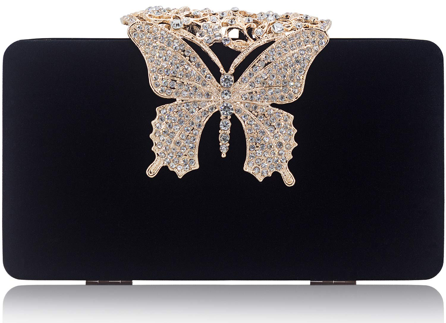 Dexmay Unique Velvet Clutch with Rhinestone Crystal Butterfly Clasp Women Evening Bag for Formal Party Black
