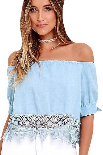 Verano Caliente De Hombro Cuello Barco Mujer Encaje Patchwork Camiseta Blusa Top Tee