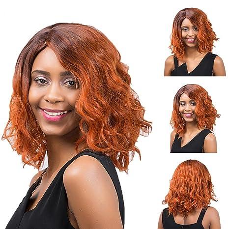 Las mujeres moda Mixed Color medio largo rizado pelucas cosplay parte extensiones de pelo – Amesii