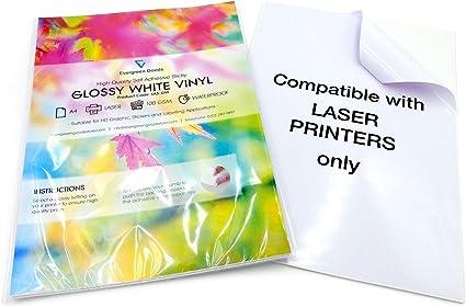 PVC bianco lucido adesivo adesivo fogli qualit/à stampabile a getto d inchiostro 10/fogli A4/di alta qualit/à impermeabile in vinile