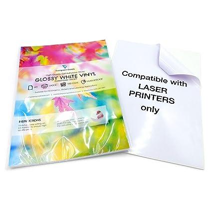 20 hojas de vinilo A4 imprimibles por láser (no aptas para impresoras de inyección de tinta) resistentes al agua (PVC), color blanco brillante, ...
