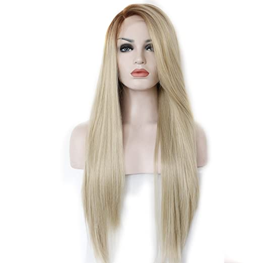 Kryssma Synthetic Hair Ombre Blonde Glueless Lace Front Wigs Long Side Part Natural Straight Heat Resistant Half Hand Tied 22 inches: Amazon.es: Belleza