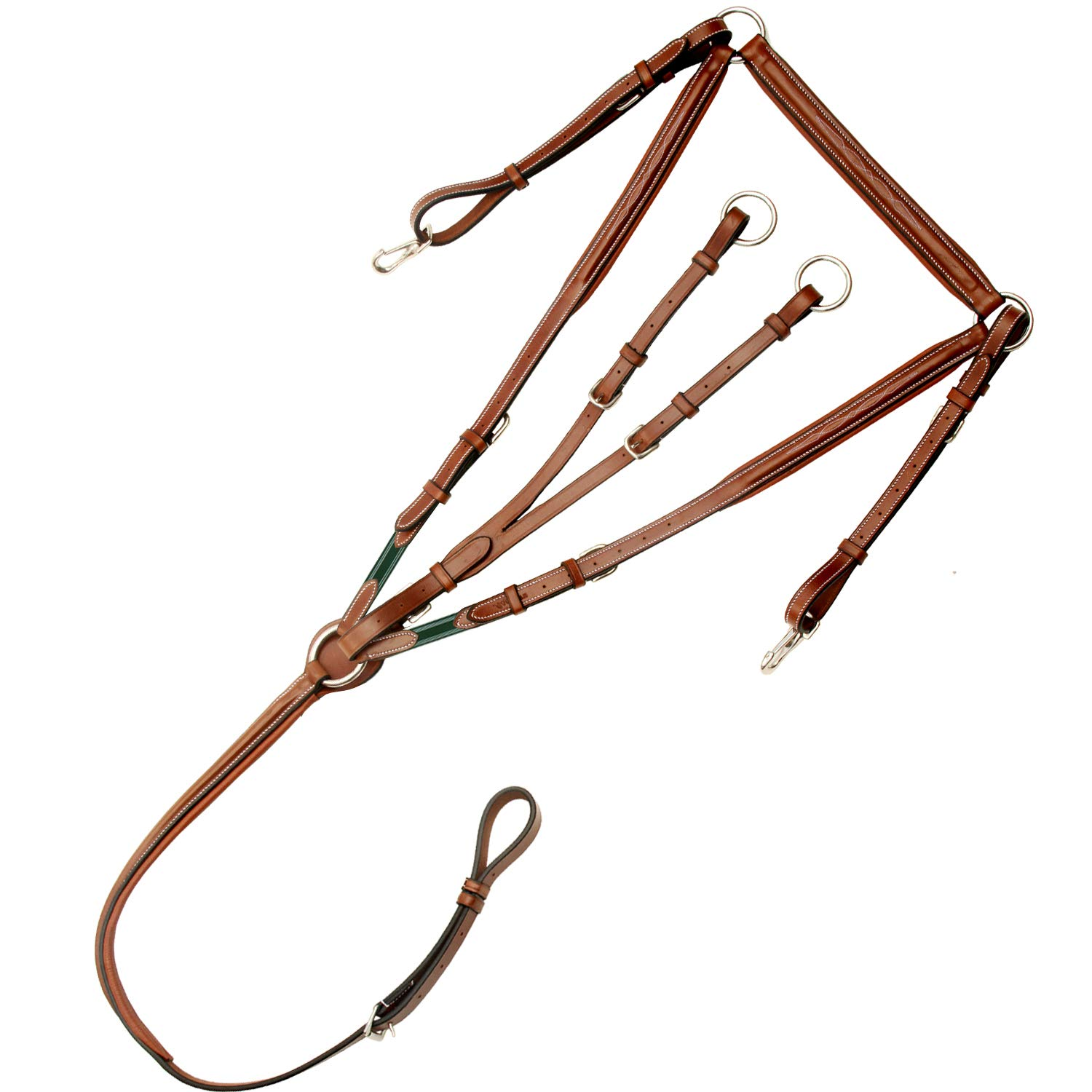 Conker (Tan Brown) Small (Pony) Conker (Tan Brown) Small (Pony) Exion Fancy Square Raised Adjustable Padded Breast Plate with Running Attachment and Stainless Steel Buckles   Green Elastic with White Lines   Conker   Pony